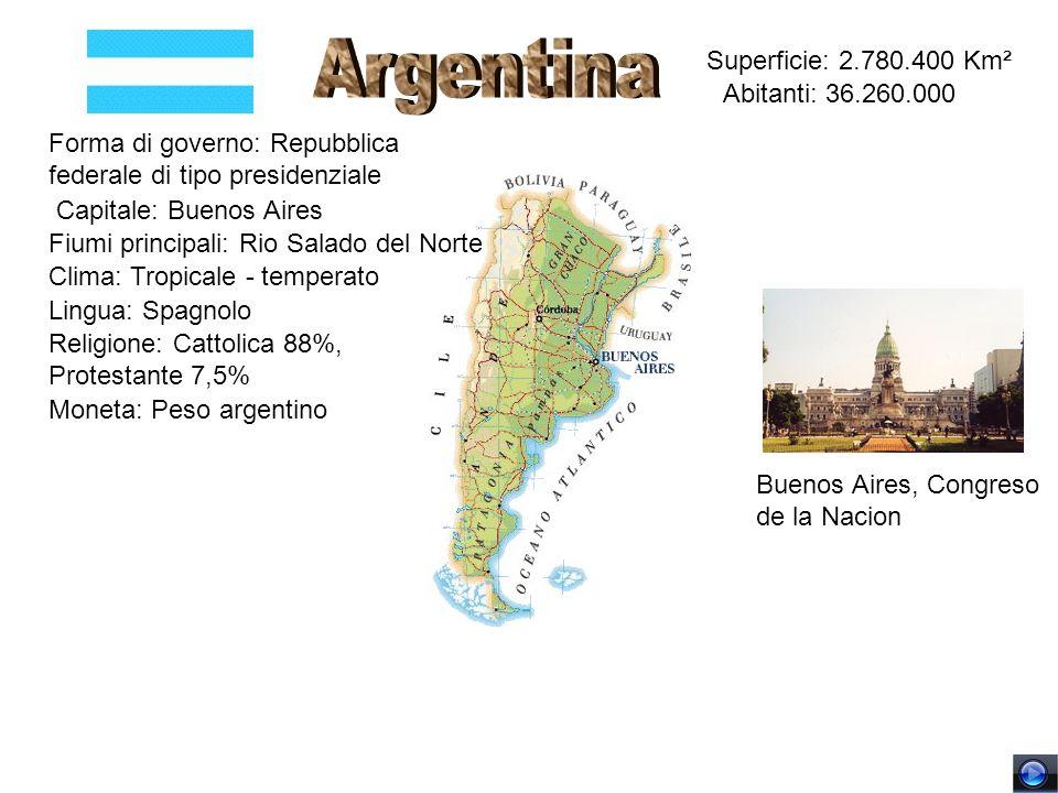 Superficie: 2.780.400 Km² Abitanti: 36.260.000 Forma di governo: Repubblica federale di tipo presidenziale Capitale: Buenos Aires Fiumi principali: Ri