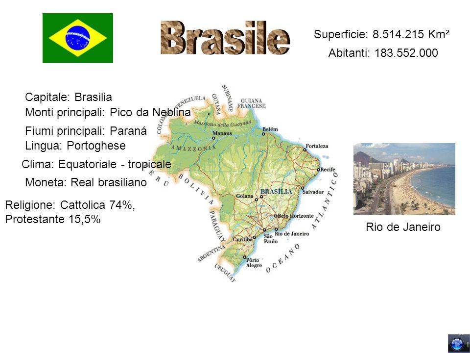 Superficie: 8.514.215 Km² Abitanti: 183.552.000 Capitale: Brasilia Monti principali: Pico da Neblina Fiumi principali: Paraná Lingua: Portoghese Relig