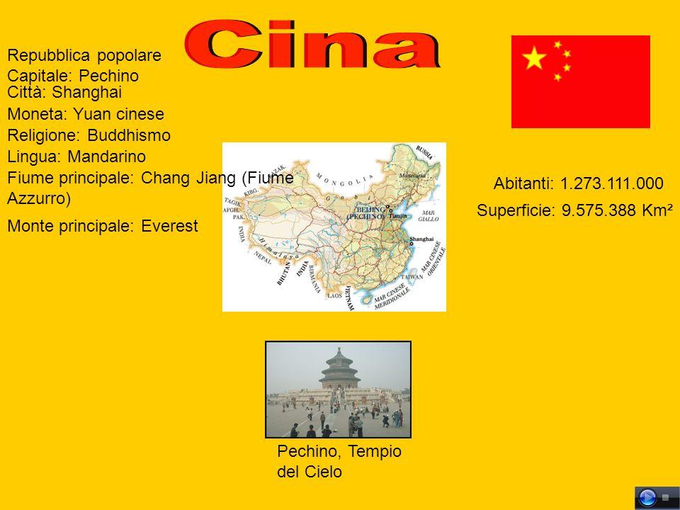 Repubblica popolare Capitale: Pechino Monte principale: Everest Fiume principale: Chang Jiang (Fiume Azzurro) Lingua: Mandarino Religione: Buddhismo Moneta: Yuan cinese Superficie: 9.575.388 Km² Abitanti: 1.273.111.000 Città: Shanghai Pechino, Tempio del Cielo