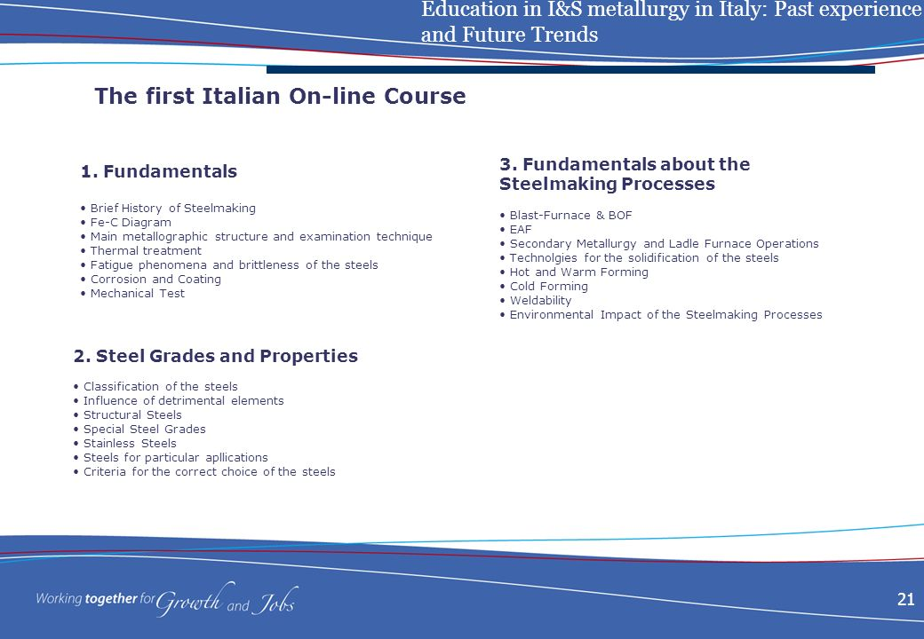 Education in I&S metallurgy in Italy: Past experience and Future Trends 21 The first Italian On-line Course 1.
