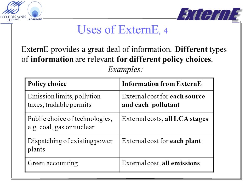 Uses of ExternE, 4 ExternE provides a great deal of information.