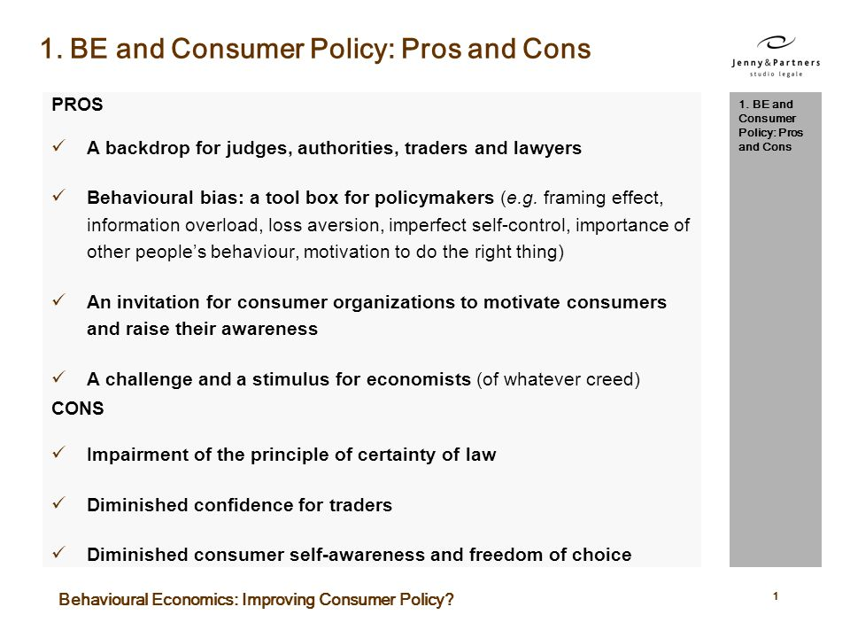 Fare qui per inserire un titolo PROS A backdrop for judges, authorities, traders and lawyers Behavioural bias: a tool box for policymakers (e.g.