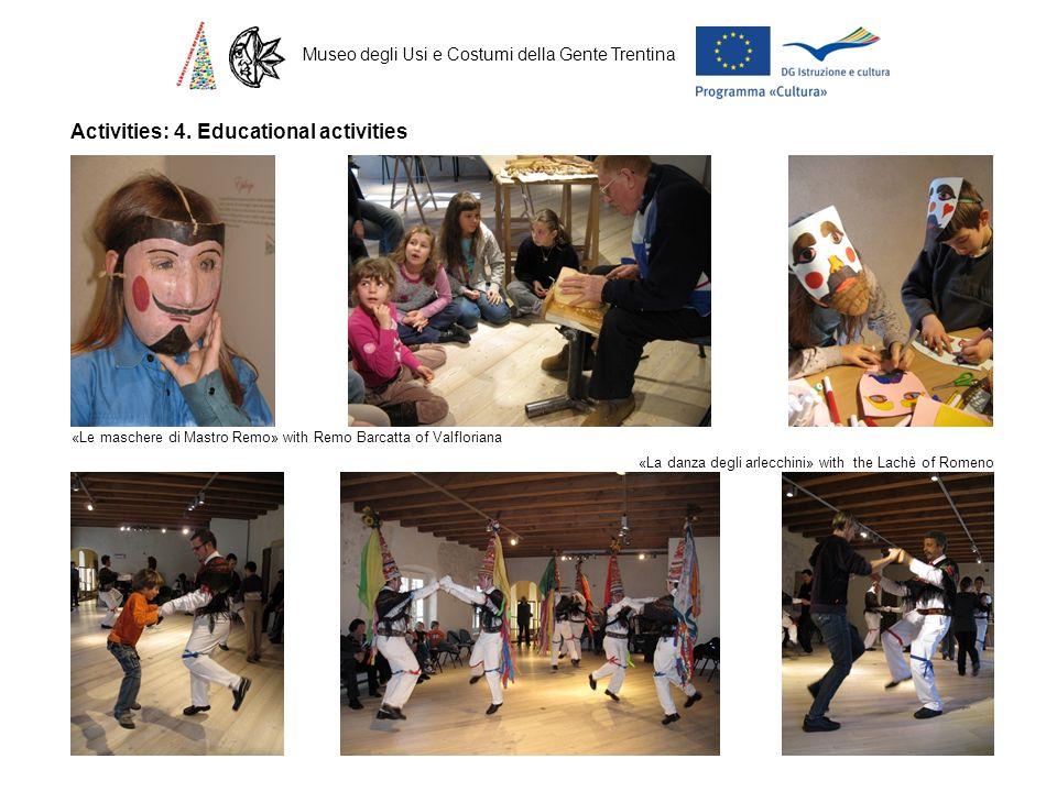 Museo degli Usi e Costumi della Gente Trentina Activities: 4. Educational activities «Le maschere di Mastro Remo» with Remo Barcatta of Valfloriana «L