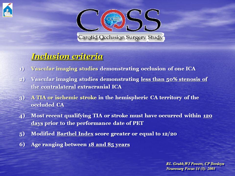 RL. Grubb,WJ Powers, CP Derdeyn Neurosurg Focus 14 (3): 2003 RL. Grubb,WJ Powers, CP Derdeyn Neurosurg Focus 14 (3): 2003 Inclusion criteria 1) Vascul