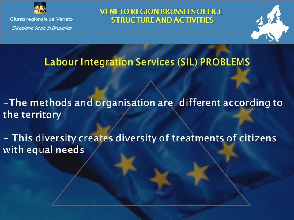 Giunta regionale del Veneto - Direzione Sede di Bruxelles - VENETO REGION BRUSSELS OFFICE: STRUCTURE AND ACTIVITIES Labour Integration Services (SIL) PROBLEMS -The methods and organisation are different according to the territory - This diversity creates diversity of treatments of citizens with equal needs