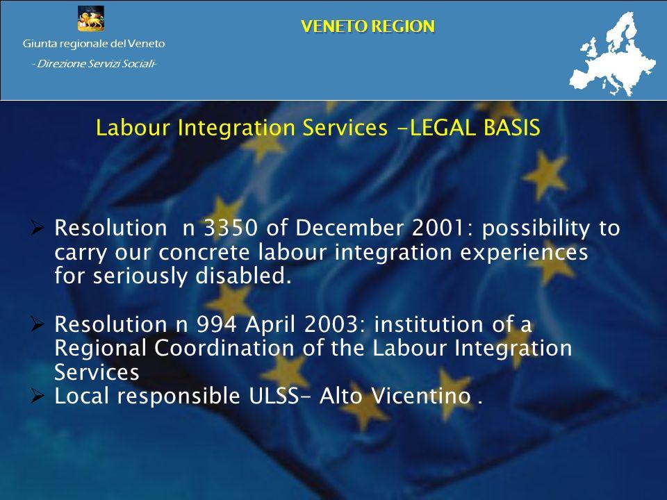 Giunta regionale del Veneto - Direzione Servizi Sociali- VENETO REGION Labour Integration Services -LEGAL BASIS Resolution n 3350 of December 2001: possibility to carry our concrete labour integration experiences for seriously disabled.