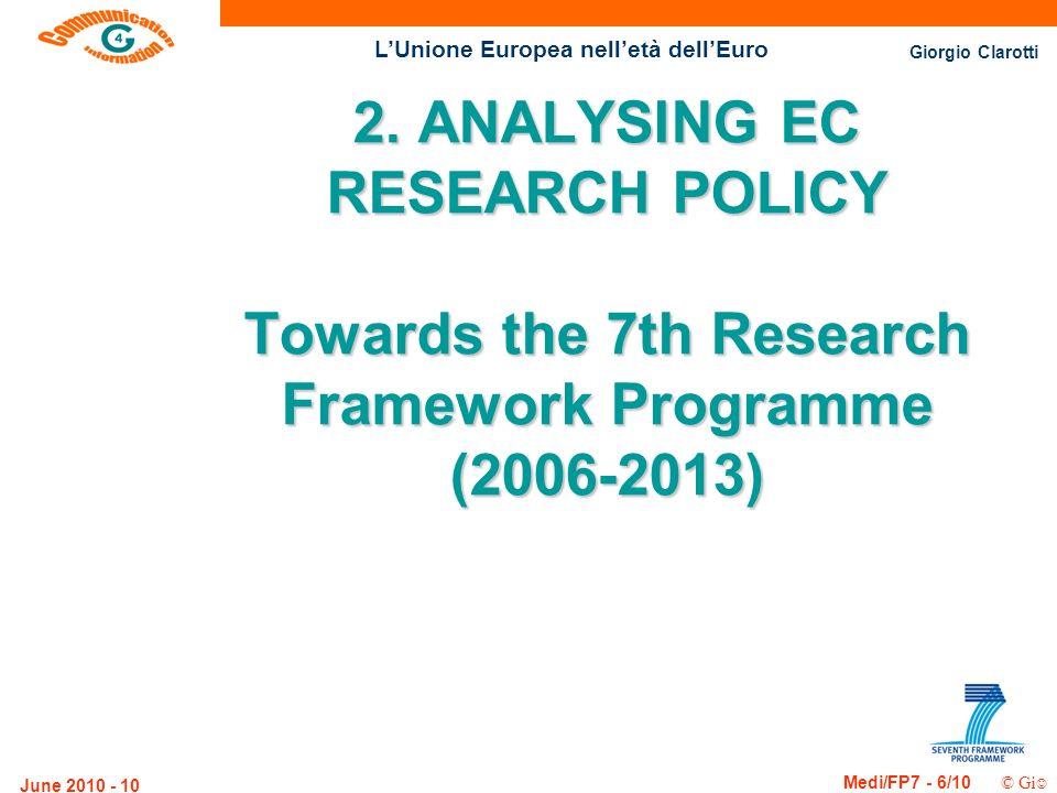 Giorgio Clarotti Medi/FP7 - 6/10 © Gi LUnione Europea nelletà dellEuro June 2010 - 10 2. ANALYSING EC RESEARCH POLICY Towards the 7th Research Framewo