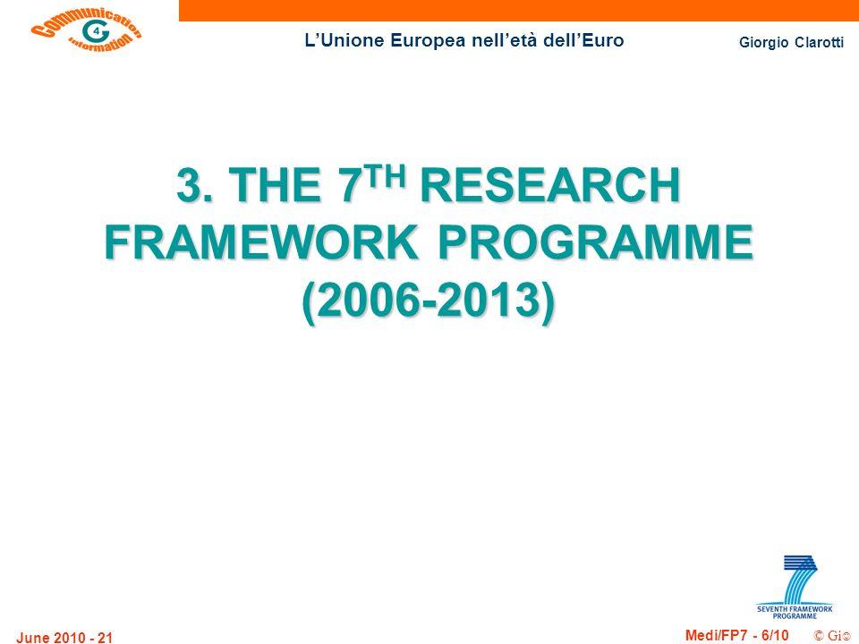 Giorgio Clarotti Medi/FP7 - 6/10 © Gi LUnione Europea nelletà dellEuro June 2010 - 21 3. THE 7 TH RESEARCH FRAMEWORK PROGRAMME (2006-2013)