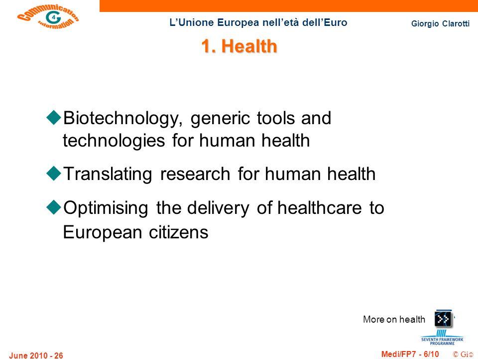 Giorgio Clarotti Medi/FP7 - 6/10 © Gi LUnione Europea nelletà dellEuro June 2010 - 26 More on health 1. Health uBiotechnology, generic tools and techn