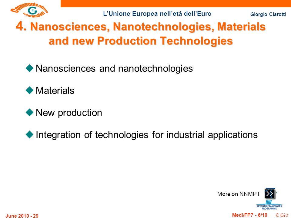 Giorgio Clarotti Medi/FP7 - 6/10 © Gi LUnione Europea nelletà dellEuro June 2010 - 29 More on NNMPT 4. Nanosciences, Nanotechnologies, Materials and n