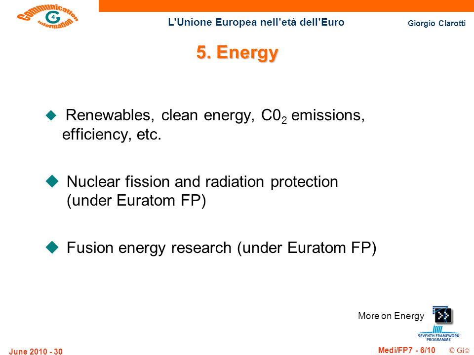 Giorgio Clarotti Medi/FP7 - 6/10 © Gi LUnione Europea nelletà dellEuro June 2010 - 30 More on Energy 5. Energy u Renewables, clean energy, C0 2 emissi
