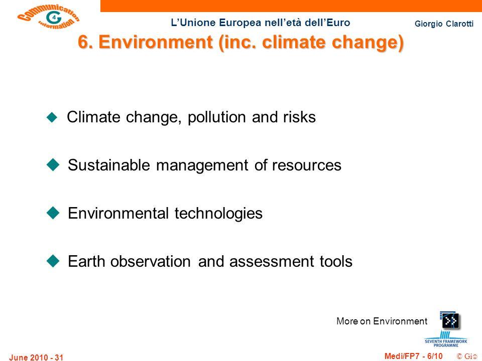 Giorgio Clarotti Medi/FP7 - 6/10 © Gi LUnione Europea nelletà dellEuro June 2010 - 31 More on Environment 6. Environment (inc. climate change) u Clima