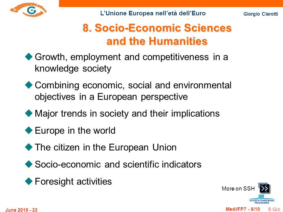 Giorgio Clarotti Medi/FP7 - 6/10 © Gi LUnione Europea nelletà dellEuro June 2010 - 33 More on SSH 8. Socio-Economic Sciences and the Humanities uGrowt