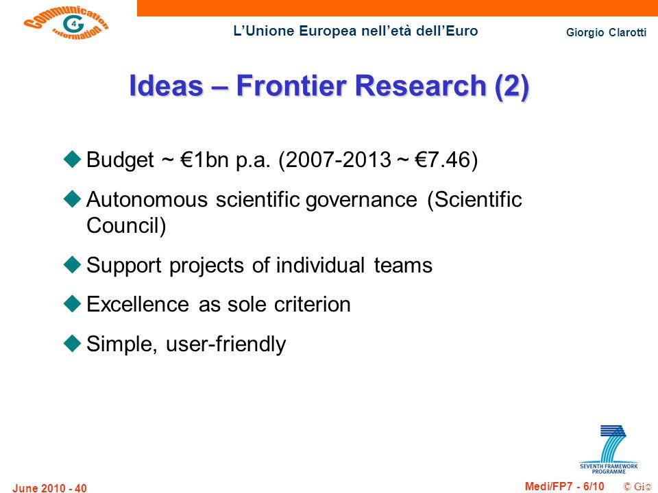 Giorgio Clarotti Medi/FP7 - 6/10 © Gi LUnione Europea nelletà dellEuro June 2010 - 40 Ideas – Frontier Research (2) uBudget ~ 1bn p.a. (2007-2013 ~ 7.
