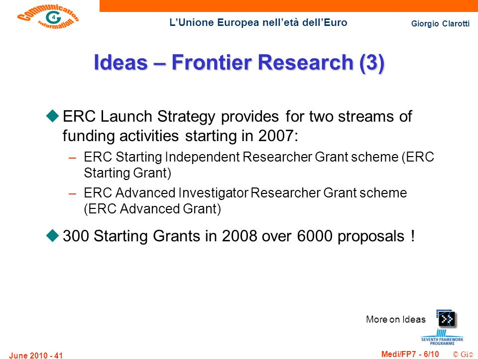 Giorgio Clarotti Medi/FP7 - 6/10 © Gi LUnione Europea nelletà dellEuro June Ideas – Frontier Research (3) uERC Launch Strategy provides for two streams of funding activities starting in 2007: –ERC Starting Independent Researcher Grant scheme (ERC Starting Grant) –ERC Advanced Investigator Researcher Grant scheme (ERC Advanced Grant) u300 Starting Grants in 2008 over 6000 proposals .