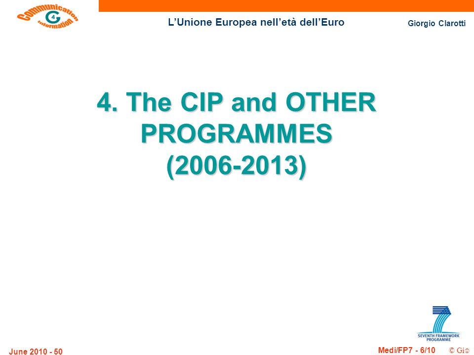 Giorgio Clarotti Medi/FP7 - 6/10 © Gi LUnione Europea nelletà dellEuro June 2010 - 50 4. The CIP and OTHER PROGRAMMES (2006-2013)