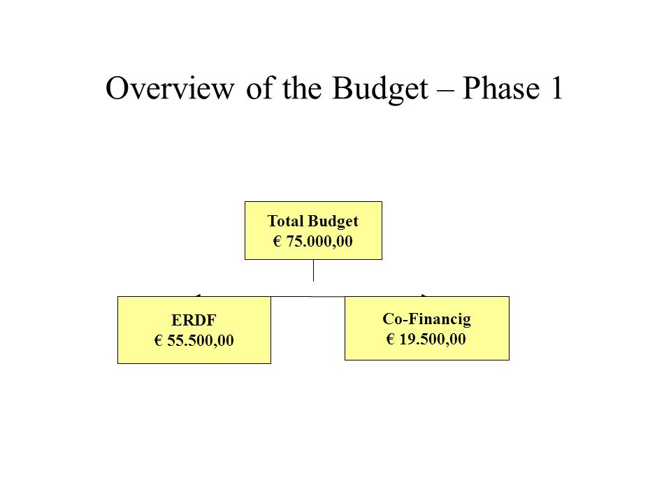 Overview of the Budget – Phase 1 Total Budget 75.000,00 ERDF 55.500,00 Co-Financig 19.500,00
