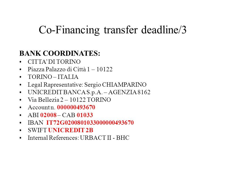 Co-Financing transfer deadline/3 BANK COORDINATES: CITTA DI TORINO Piazza Palazzo di Città 1 – 10122 TORINO – ITALIA Legal Rapresentative: Sergio CHIA