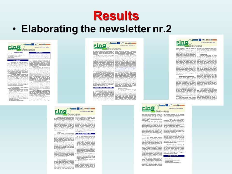 Results Elaborating the newsletter nr.2