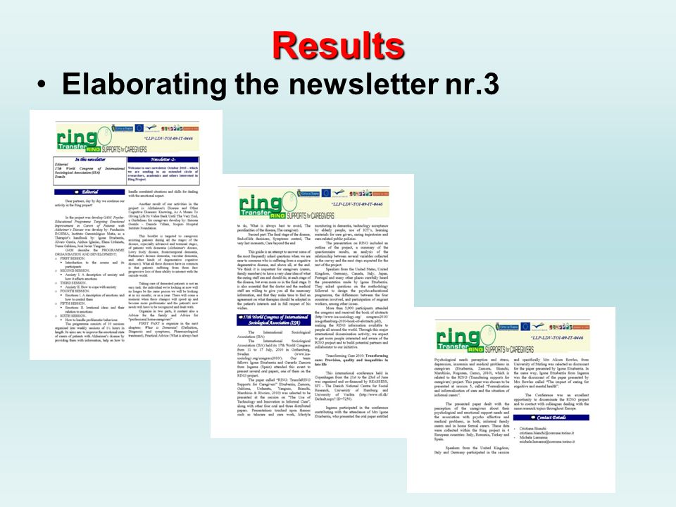 Results Elaborating the newsletter nr.3