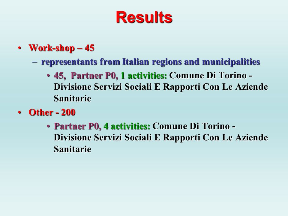 Results Work-shop – 45Work-shop – 45 –representants from Italian regions and municipalities 45, Partner P0, 1 activities: Comune Di Torino - Divisione