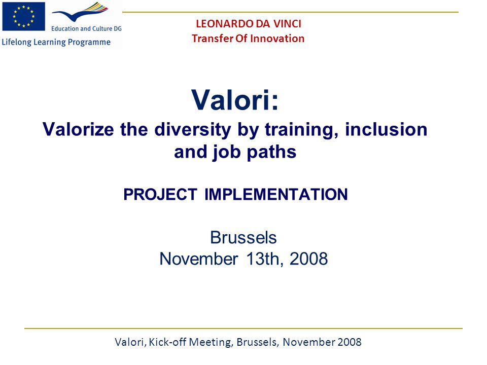 Valori: Valorize the diversity by training, inclusion and job paths PROJECT IMPLEMENTATION Brussels November 13th, 2008 Valori, Kick-off Meeting, Brussels, November 2008 LEONARDO DA VINCI Transfer Of Innovation