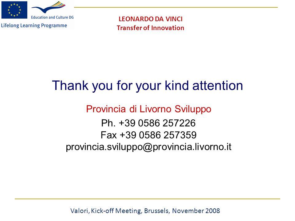 Thank you for your kind attention Provincia di Livorno Sviluppo Ph.