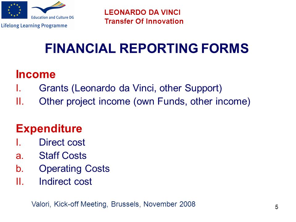6 FINANCIAL REPORTING FORMS I.Direct costs a.