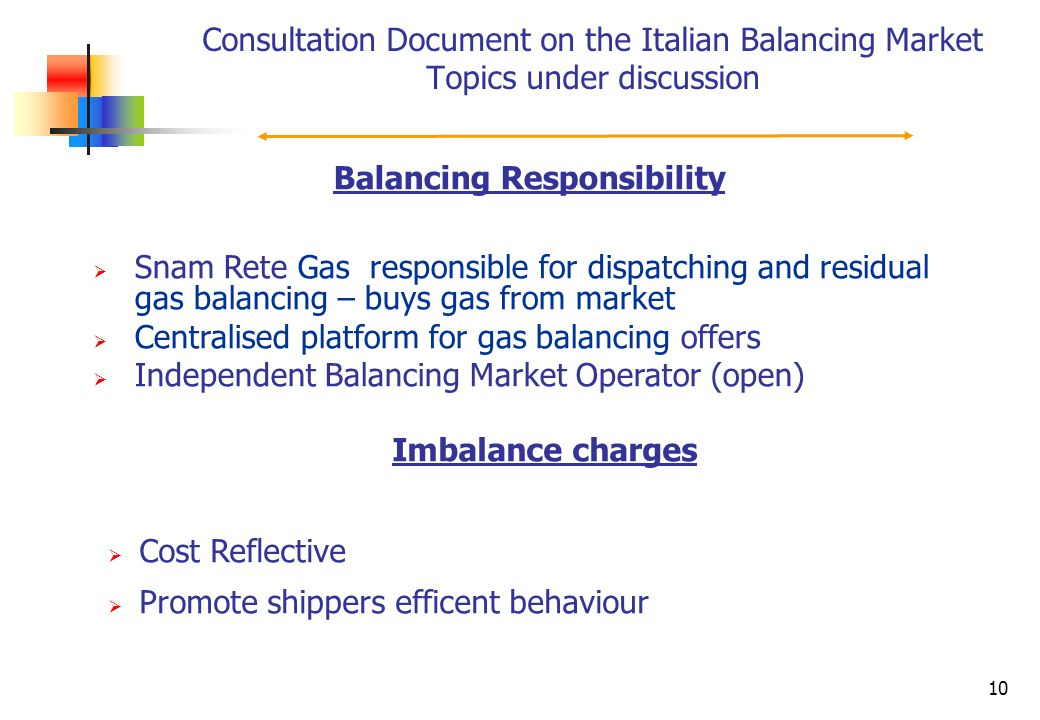 10 Consultation Document on the Italian Balancing Market Topics under discussion Balancing Responsibility Snam Rete Gas responsible for dispatching an