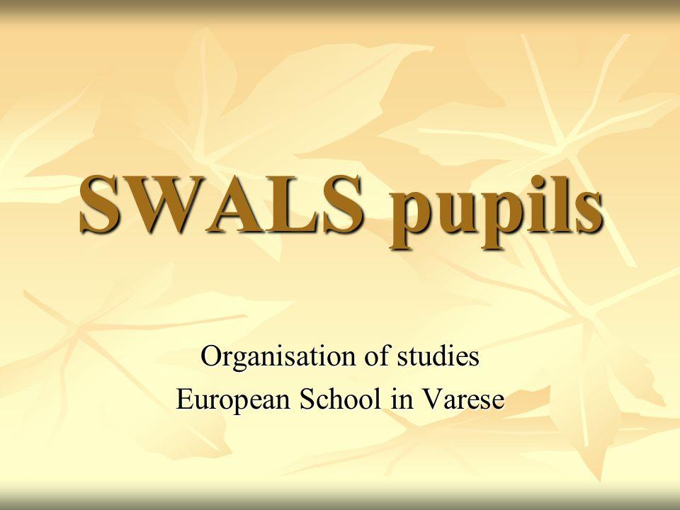 SWALS pupils Organisation of studies European School in Varese