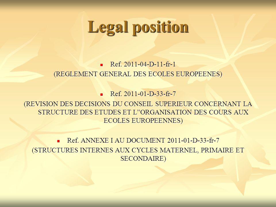 Legal position Ref. 2011-04-D-11-fr-1 Ref. 2011-04-D-11-fr-1 (REGLEMENT GENERAL DES ECOLES EUROPEENES) Ref. 2011-01-D-33-fr-7 Ref. 2011-01-D-33-fr-7 (