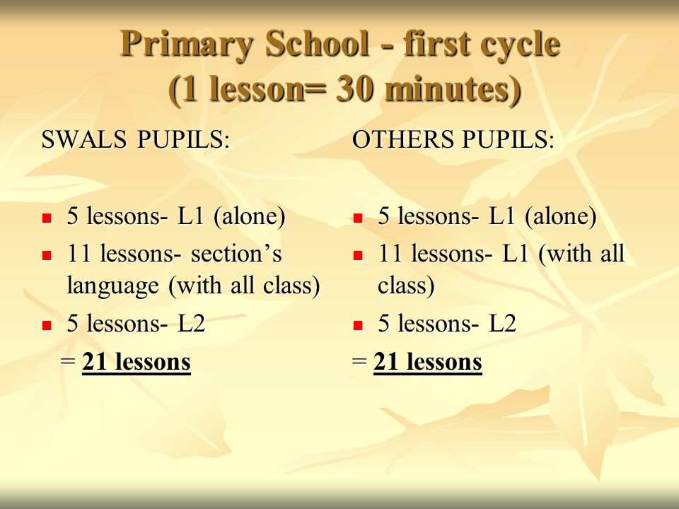 Primary School - first cycle (1 lesson= 30 minutes) SWALS PUPILS: 5 lessons- L1 (alone) 5 lessons- L1 (alone) 11 lessons- sections language (with all