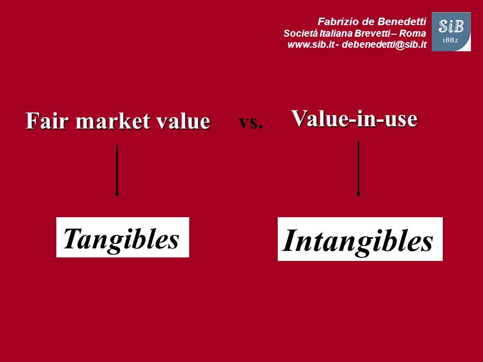 Fabrizio de Benedetti Società Italiana Brevetti – Roma www.sib.it - debenedetti@sib.it Fair market value Tangibles Intangibles vs. Value-in-use