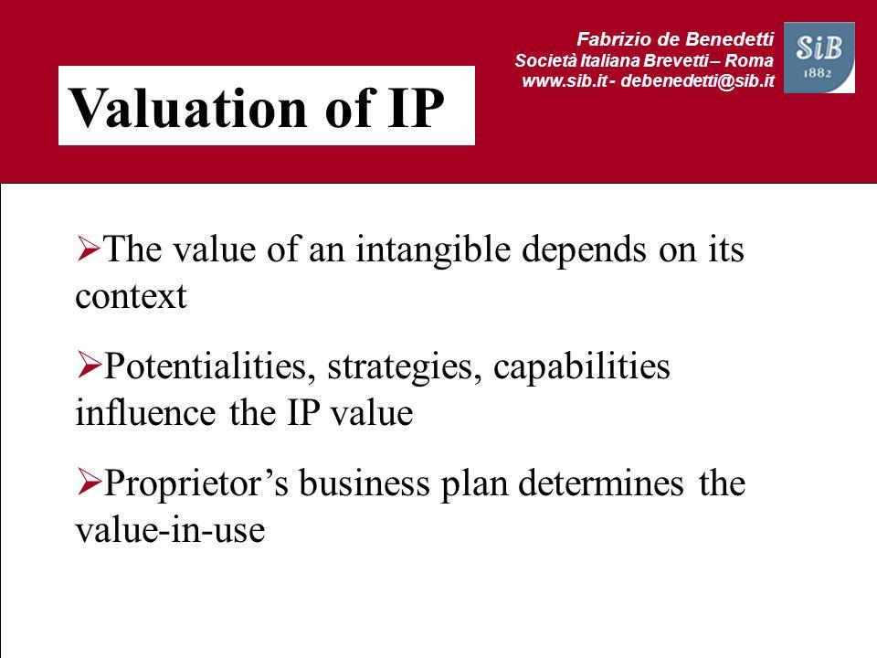 Fabrizio de Benedetti Società Italiana Brevetti – Roma www.sib.it - debenedetti@sib.it Valuation of IP The value of an intangible depends on its conte