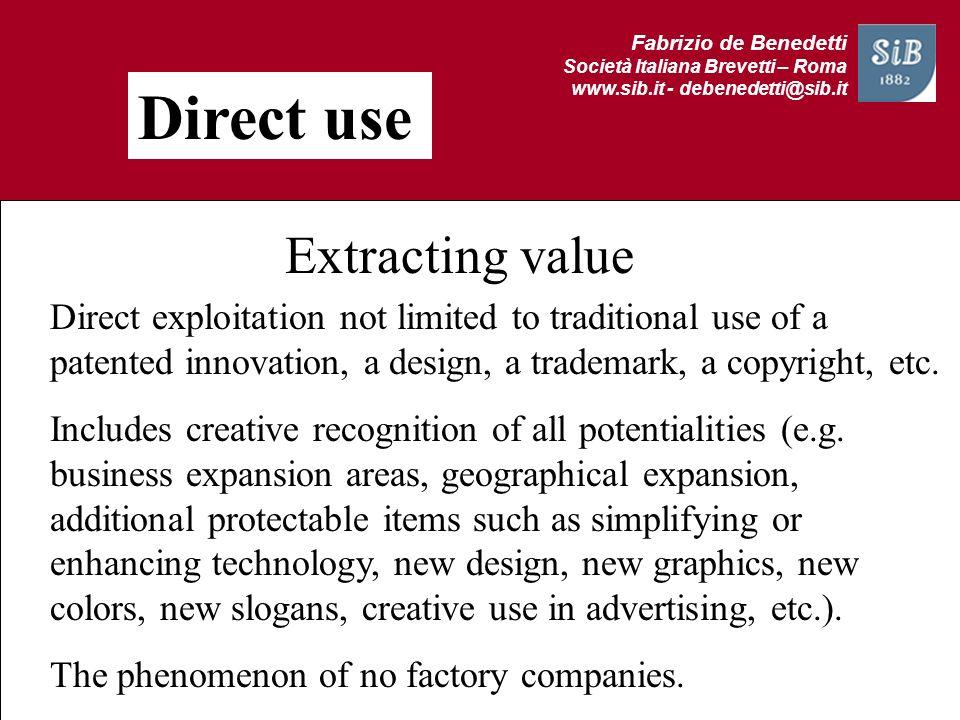 Fabrizio de Benedetti Società Italiana Brevetti – Roma www.sib.it - debenedetti@sib.it Direct use Extracting value Direct exploitation not limited to