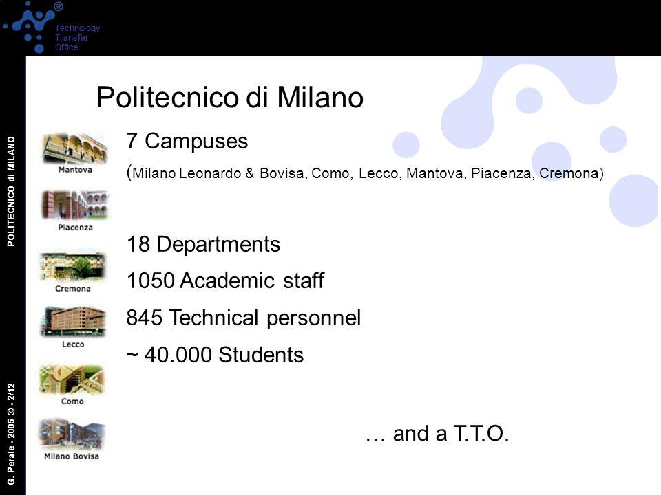 G. Perale - 2005 © - 2/12 POLITECNICO di MILANO Technology Transfer Office 7 Campuses ( Milano Leonardo & Bovisa, Como, Lecco, Mantova, Piacenza, Crem