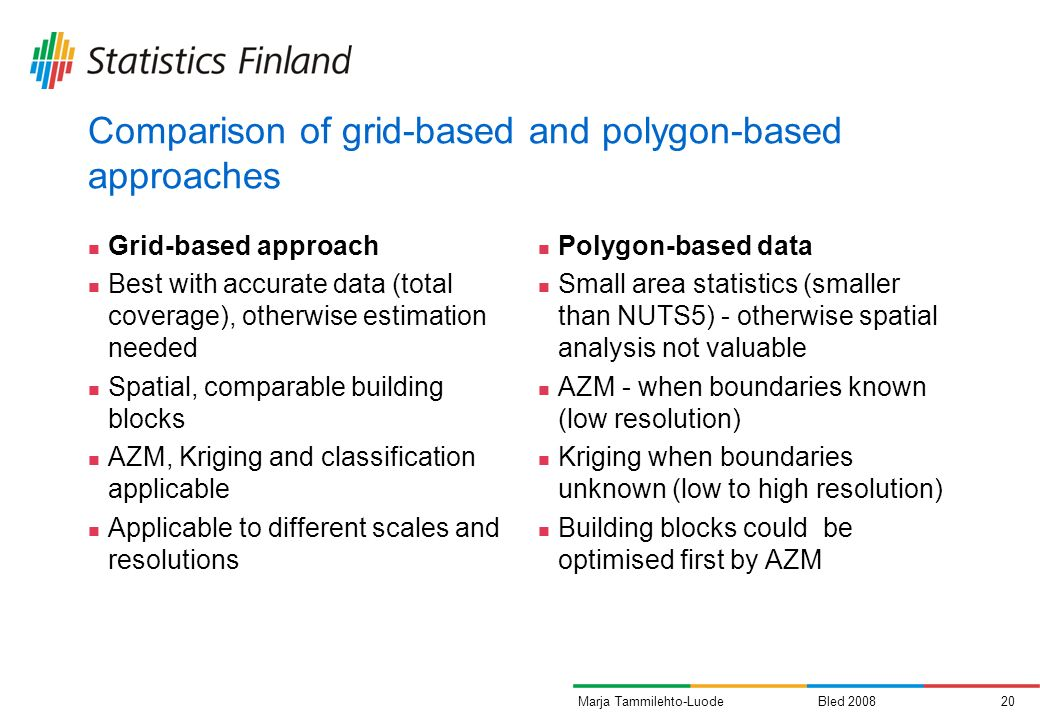 Bled 200820Marja Tammilehto-Luode Comparison of grid-based and polygon-based approaches Grid-based approach Best with accurate data (total coverage),