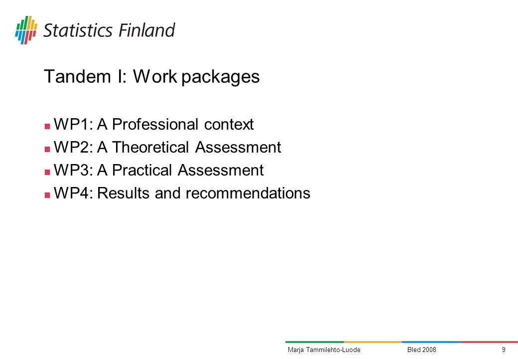 Bled 20089Marja Tammilehto-Luode Tandem I: Work packages WP1: A Professional context WP2: A Theoretical Assessment WP3: A Practical Assessment WP4: Re
