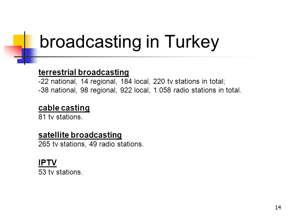 14 broadcasting in Turkey terrestrial broadcasting -22 national, 14 regional, 184 local, 220 tv stations in total; -38 national, 98 regional, 922 local, 1.058 radio stations in total.