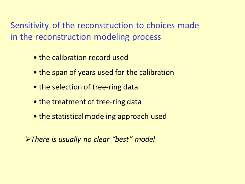 Sensitivity of the reconstruction to choices made in the reconstruction modeling process the calibration record used the span of years used for the ca