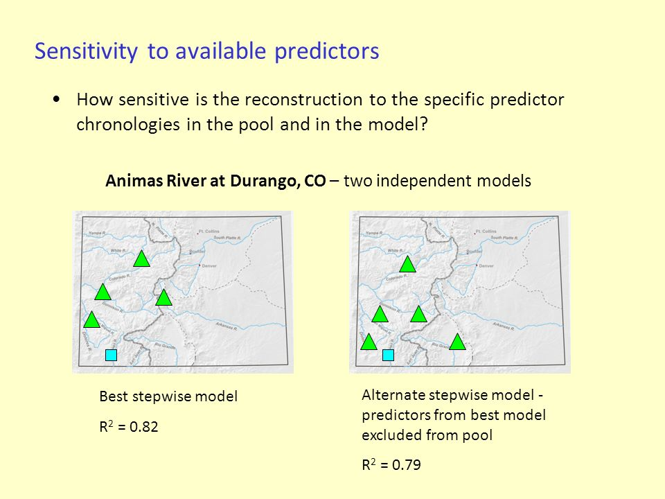 Sensitivity to available predictors How sensitive is the reconstruction to the specific predictor chronologies in the pool and in the model? Best step