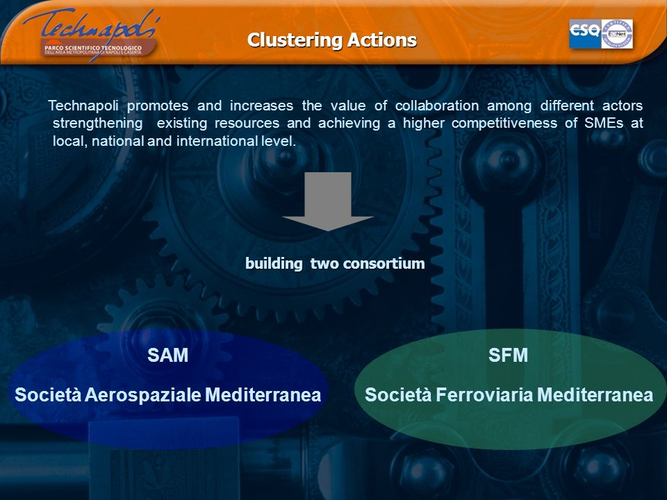 Clustering Actions Technapoli promotes and increases the value of collaboration among different actors strengthening existing resources and achieving a higher competitiveness of SMEs at local, national and international level.
