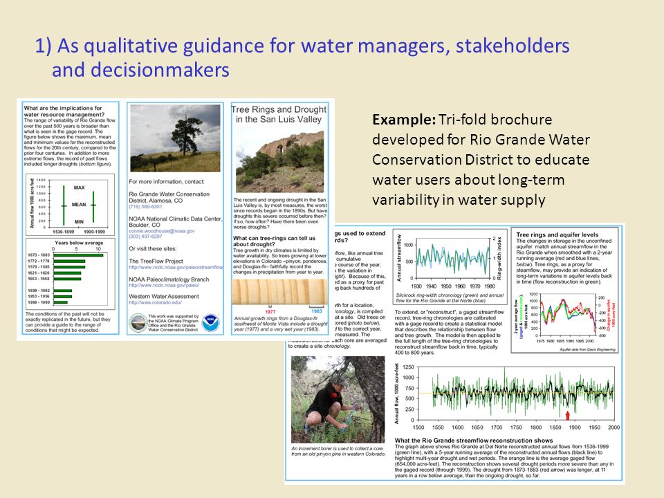 1) As qualitative guidance for water managers, stakeholders and decisionmakers Example: Tri-fold brochure developed for Rio Grande Water Conservation