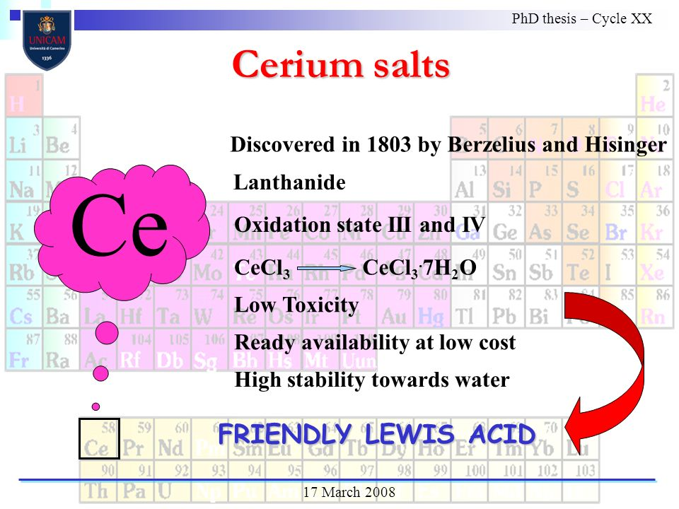 Ce FRIENDLY LEWIS ACID Discovered in 1803 by Berzelius and Hisinger Lanthanide Oxidation state III and IV CeCl 3 High stability towards water Low Toxicity Cerium salts PhD thesis – Cycle XX 17 March 2008 Ready availability at low cost CeCl 3.