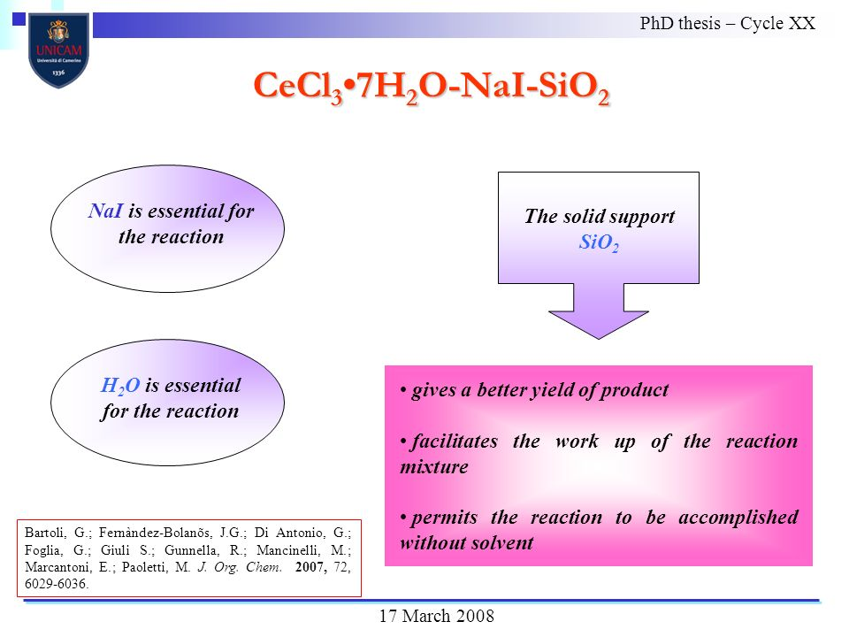 The solid support SiO 2 NaI is essential for the reaction PhD thesis – Cycle XX 17 March 2008 CeCl 3 7H 2 O-NaI-SiO 2 gives a better yield of product facilitates the work up of the reaction mixture permits the reaction to be accomplished without solvent Bartoli, G.; Fernàndez-Bolanõs, J.G.; Di Antonio, G.; Foglia, G.; Giuli S.; Gunnella, R.; Mancinelli, M.; Marcantoni, E.; Paoletti, M.