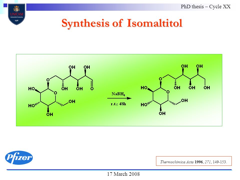Synthesis of Isomaltitol PhD thesis – Cycle XX 17 March 2008 Thermochimica Acta 1996, 271, 149-153.
