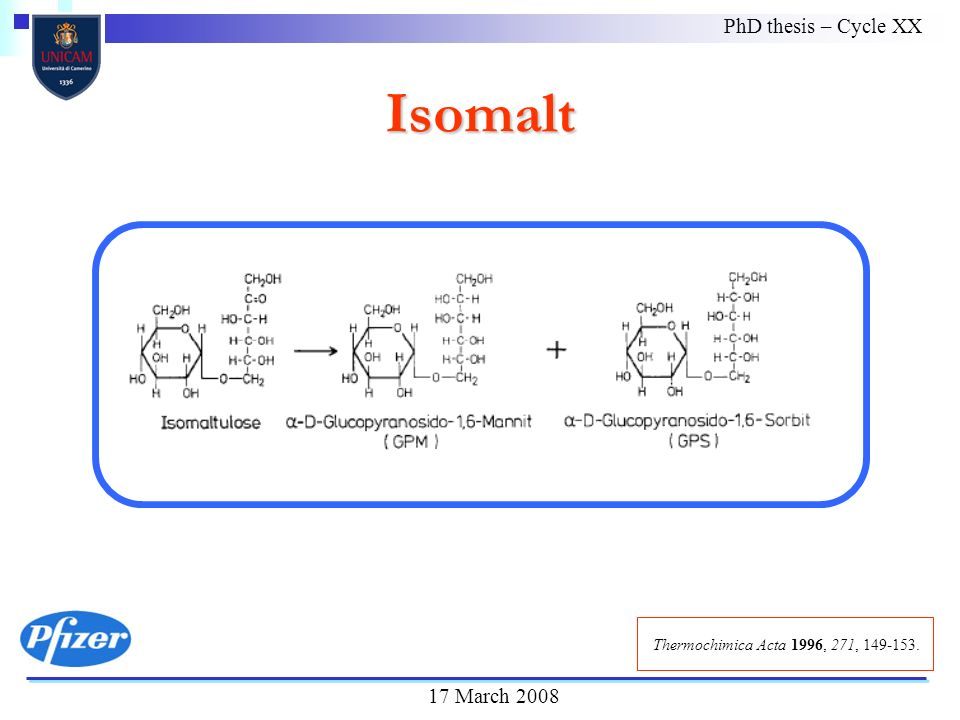 Isomalt PhD thesis – Cycle XX 17 March 2008 Thermochimica Acta 1996, 271, 149-153.