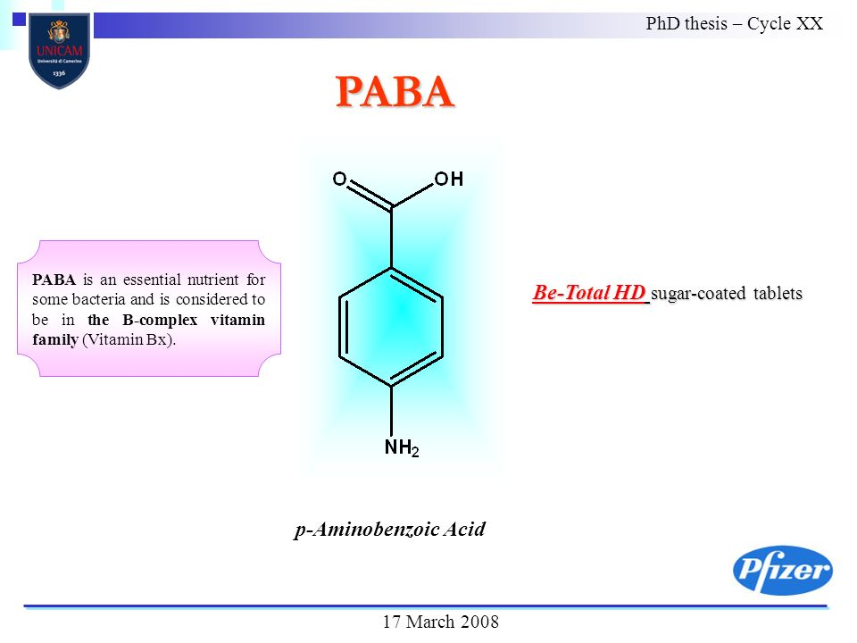 PABA PhD thesis – Cycle XX 17 March 2008 Be-Total HD sugar-coated tablets p-Aminobenzoic Acid PABA is an essential nutrient for some bacteria and is considered to be in the B-complex vitamin family (Vitamin Bx).