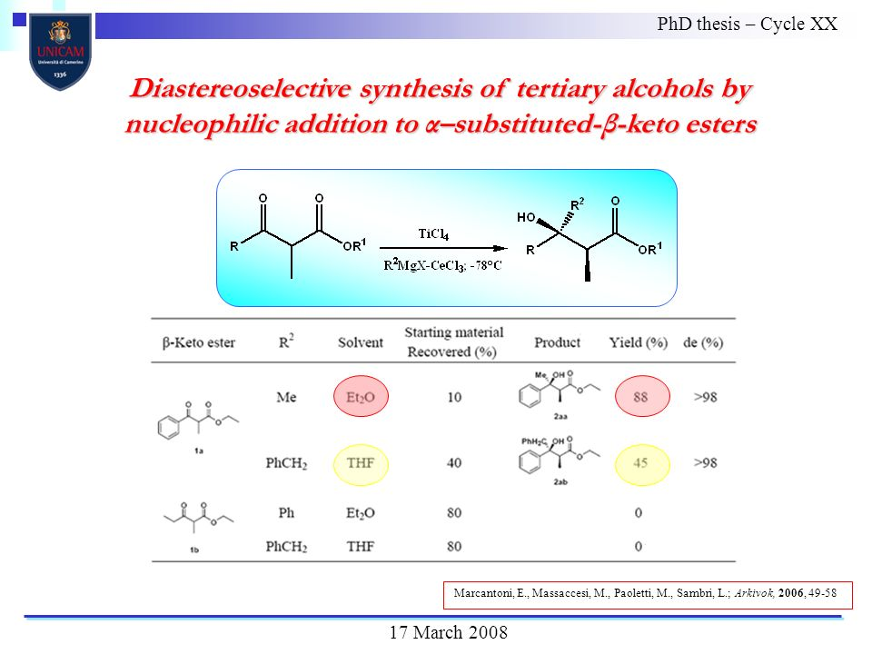 Diastereoselective synthesis of tertiary alcohols by nucleophilic addition to α–substituted-β-keto esters PhD thesis – Cycle XX 17 March 2008 Marcantoni, E., Massaccesi, M., Paoletti, M., Sambri, L.; Arkivok, 2006, 49-58