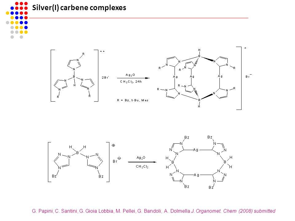 Silver(I) carbene complexes G. Papini, C. Santini, G. Gioia Lobbia, M. Pellei, G. Bandoli, A. Dolmella J. Organomet. Chem. (2008) submitted